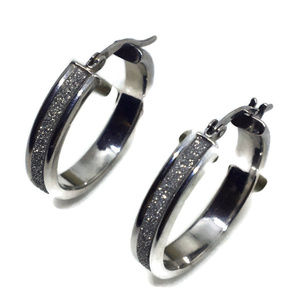 white gold on silver hoop earrings snad blast